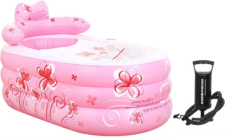 Sunjun& Inflatable Bathtub Thickened Adult Insulation Bath Folding (color   PINK, Size   130  75  70cm)