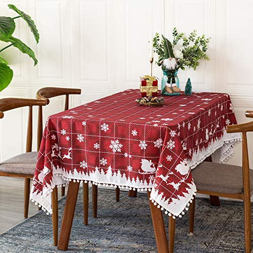 CaliTime Tablecloths 60 x 102 Inch Waterproof Stain Resistant Tassel Ball Red Lattice Christmas Snowflakes Print Decorative Polyester Pongee Rectangular Table Cover for Outdoor Picnic Kitchen Dining