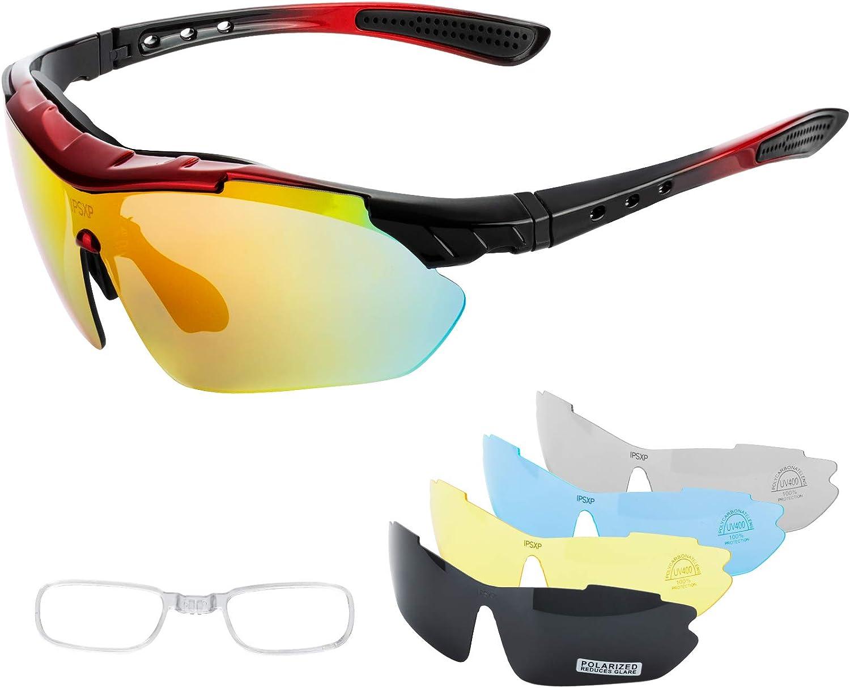 IPSXP Gafas de Sol Deportivas polarizadas 5 Lentes Intercambiables, Gafas de Ciclismo para Hombres y Mujeres, Carrera de béisbol, Escalada, Golf