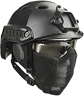 Casco táctico Airsoft Paintball Tiro Casco Protector Militar CS Casco de Campo y máscara de Malla de Acero, Unisex
