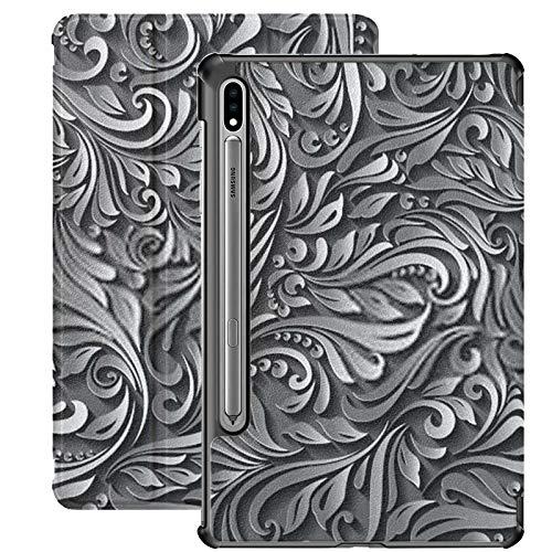 Estuche para Galaxy Tab S7 Estuche Delgado y liviano con Soporte para Tableta Samsung Galaxy Tab S7 de 11 Pulgadas Sm-t870 Sm-t875 Sm-t878 2020 Release, Illustration Seamless Abstract Black Floral Vi