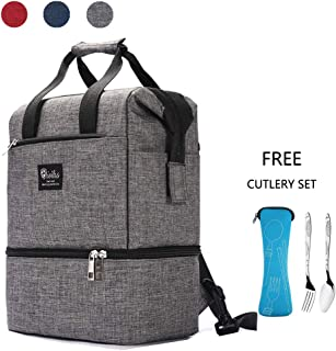 Lunch Bag for Women/Men, Lunch Box for Men Insulated Lunch Tote Bag With Removable Shoulder Strap, Adult Lunch Box Lunch Cooler Bag, Thermal Large Lunch Bag for Women Work Picnic Grey