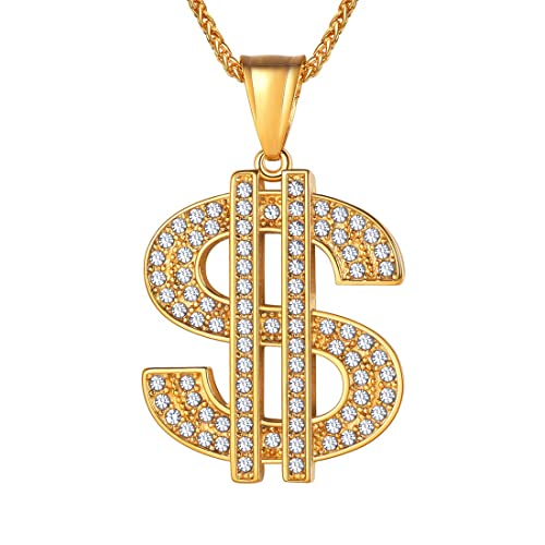 fe9d0e0b06a U7 Men's Stainless Steel Dollar Sign Pendant Necklace, Rhinestone Inlay  with 22 Inch Chain