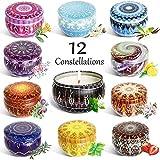 Velas Perfumadas,12 series de constelaciones 12 Pack Regalo de Velas Aromaticas,Velas Cera de Soja...