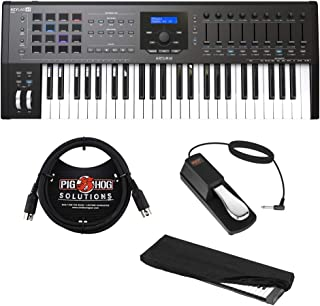 Arturia KeyLab MKII 49 Professional MIDI Controller and Software (Black) with 6ft MIDI Cable, Sustain Pedal & Keyboard Dust Cover (Small) Bundle