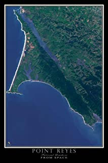 Terra Prints Point Reyes National Seashore California Satellite Poster Map L 24 x 36 inch