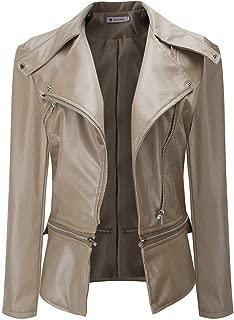 Ninasill Women Lapel Coat Leather Jacket Parka Overcoat Outwear