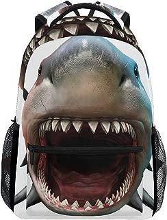 KUWT Ocean Animal Shark School Backpack Casual Shoulder Bag College Bookbag Travel Hiking Daypack