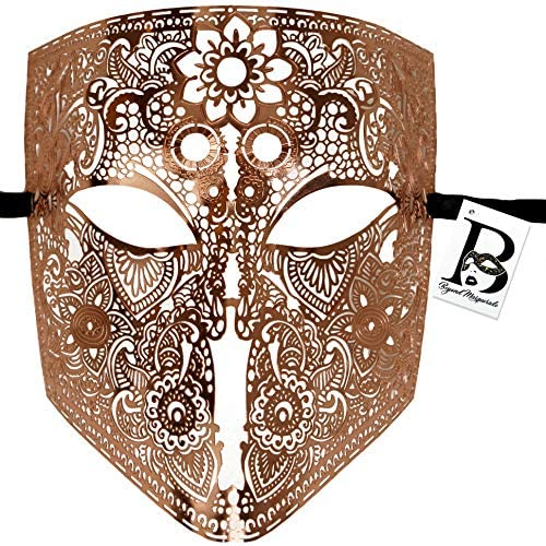 Full Face Metal Lace Masquerade Mask Bauta Venetian Halloween Costume Cosplay Party Mask Rose product image