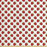Lunarable Red Stoff von The Yard, Obst-Motiv, Cartoon Stil