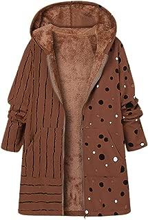LONGDAYRetro Bohemian Printed CoatWomens Long Sleeve Thick Hooded Open Front Cardigan Parka Overcoat Fleece Jacket
