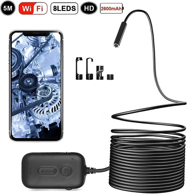 Zacro 5m Endoscopio Inalámbrico Inspección 8 LED3 Zooms 2M Pixel Endoscopio Camara Impermeable IP67 para iOS AndroidSmartphonesTableta