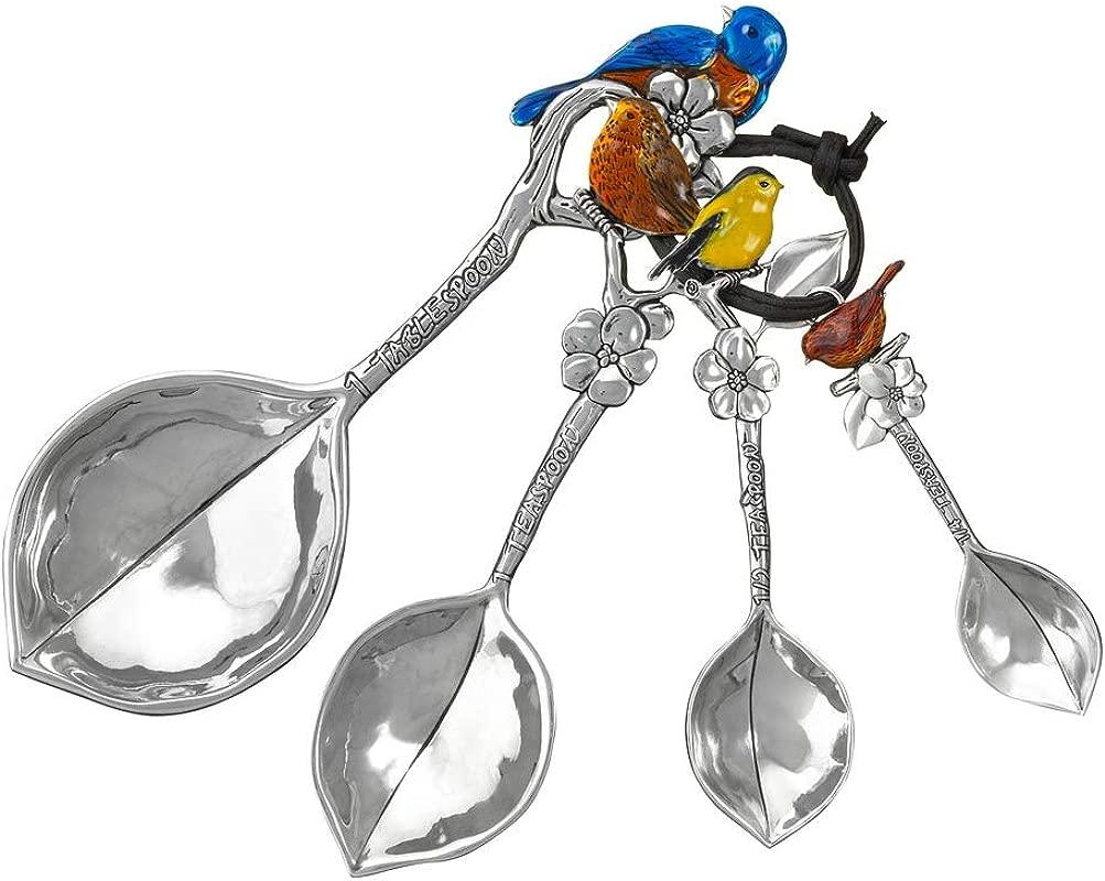 Novelty Silver Tone Measuring Spoon Set Birds