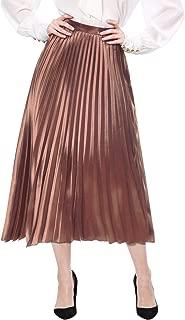 Women's Zip Closure Accordion Pleated Metallic Midi Party Skirt