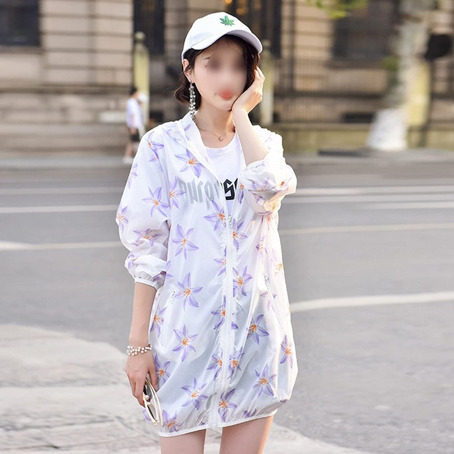 XRXY Female Long Section Printing Sun Predection Clothing Loose Breathable Casual Sunscreen Cardigan UltraThin Simple Office Air Conditioning Shawl (Size   XL)
