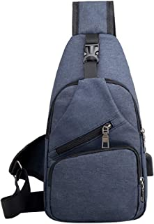 Men Single Shoulder Bags USB Charging Crossbody Chest Bags Anti Theft School Summer Short Trip Messengers Pack