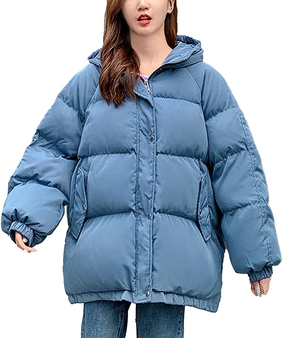 SeekMe Women's Puffer Jackets Stand Collar Quilted Thick Bubble Hooded Down Jacket