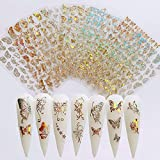 Butterfly Nail Art Adhesive Stickers Nail Art Supplies 8Sheets Gold and Silver Butterfly Nail Decals Laser Butterfly Design Nail Art Decorations 3D Luxury Butterflies Sticker for Acrylic Nails Decor