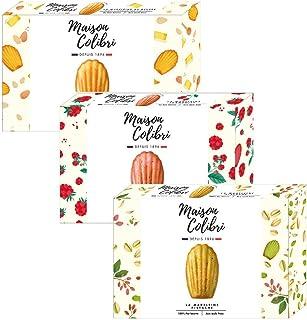 Maison Colibri: 18 Madeleine Assortite: Burro, Lampone, Pistacchio, Senza Olio di Palma e Senza Coloranti - 3 x 150 Grammi
