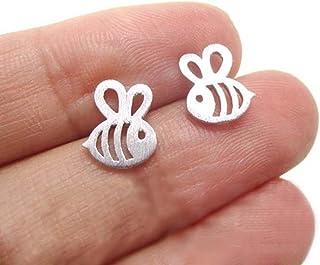 Bullidea Ear Stud Men Women Silver Stud Earrings Bee Shape Jewelry Earring Sterling, 1 Pair