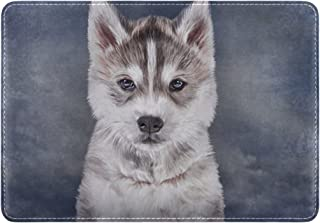 Mydaily Husky Dog Leather Passport Holder Cover Case Protector