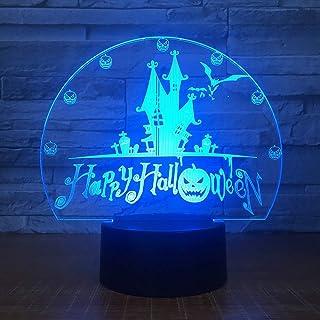 Cadeau 7 Couleurs Usb Visuel Château Chauves-Souris Nuit Lumière Bureau Lampe Led 3D Home Decor Holiday Accessoires Lumièr...