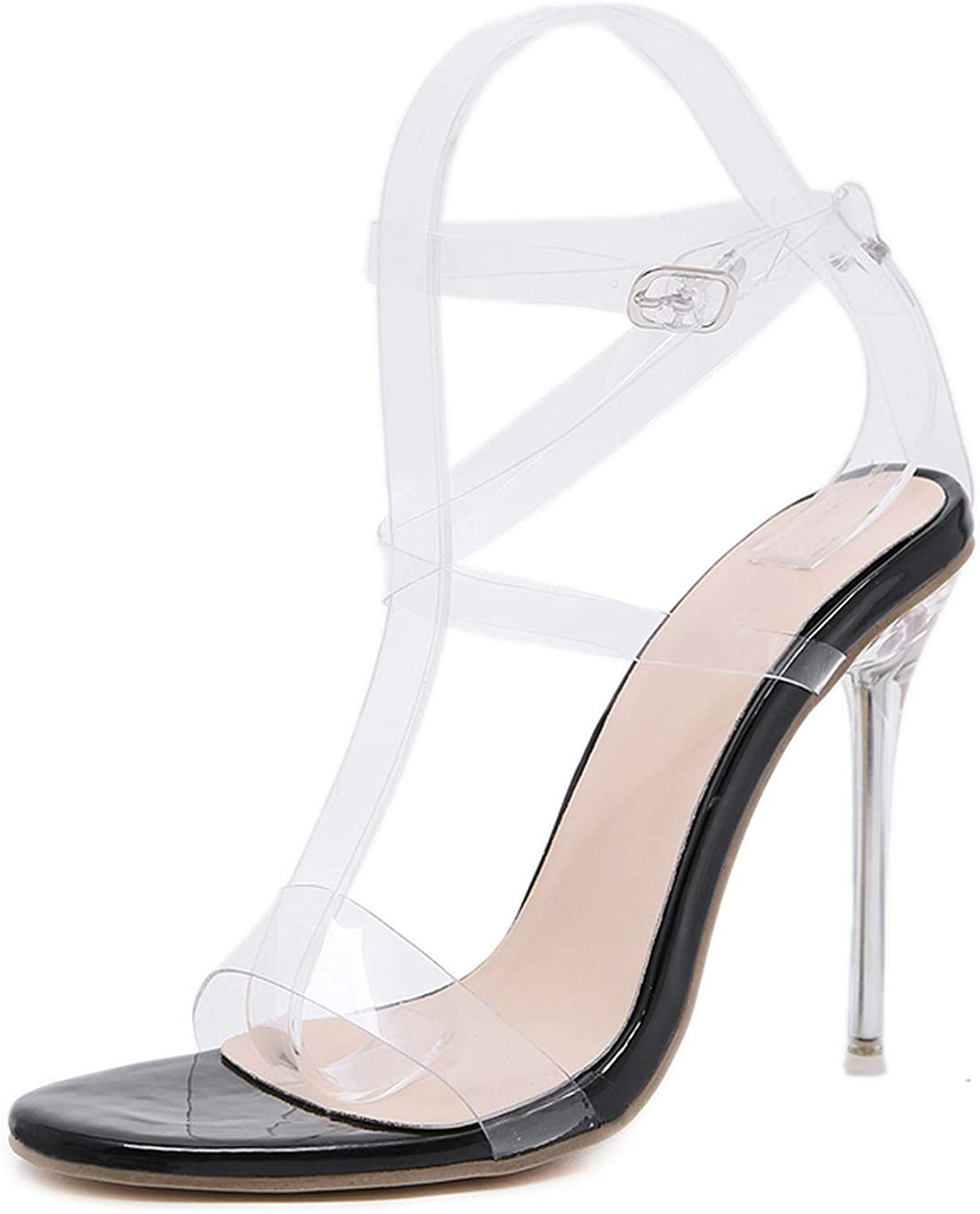 PVC Jelly Sandals Crystal Open Toed Women Transparent Thin Heels Sandals,Black,7