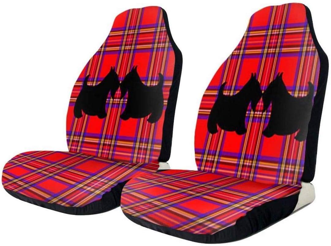 2 PCS Car Seat Excellence [Alternative dealer] Covers Red Dog Plaid Scottish Buc Scotty Terrier