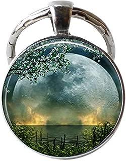 Summer Solstice Keychain,Full Moon Keychain,Solstice Jewelry Wiccan Jewelry, Pagan Jewelry Beltane Glass Gift Keychain