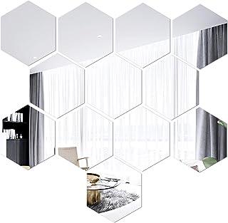 Argento, 20 x 20 cm Mobiut Specchio Adesivo da Parete,Adesivo Specchio Quadrato 8pcs Decorazione,specchio flessibile da parete per la Decorazione di Superficie Home Office