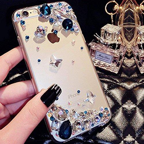 Shinyzone Coque pour Samsung Galaxy S7-Étui Transparent avec 3D à la Main Bleu Brillante Diamant Strass Papillon Glitter de Luxe,Housse Plastique avec Pare-Chocs en TPU Souple