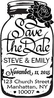 Mason Jar Custom Rubber Stamp Save The Date Wedding Invitation Self Inking Stamper Gift