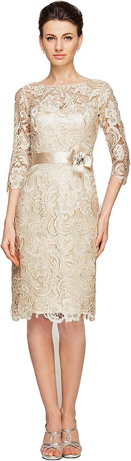 Fenghuavip Champagne Full Lace 3 4 Sleeves Formal Mother of Bride Dress