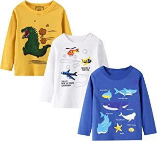 HILEELANG Boys Long Sleeve Tops Tees Shirts Graphic Cotton Casual Crewneck T-Shirts Sets 3 Packs