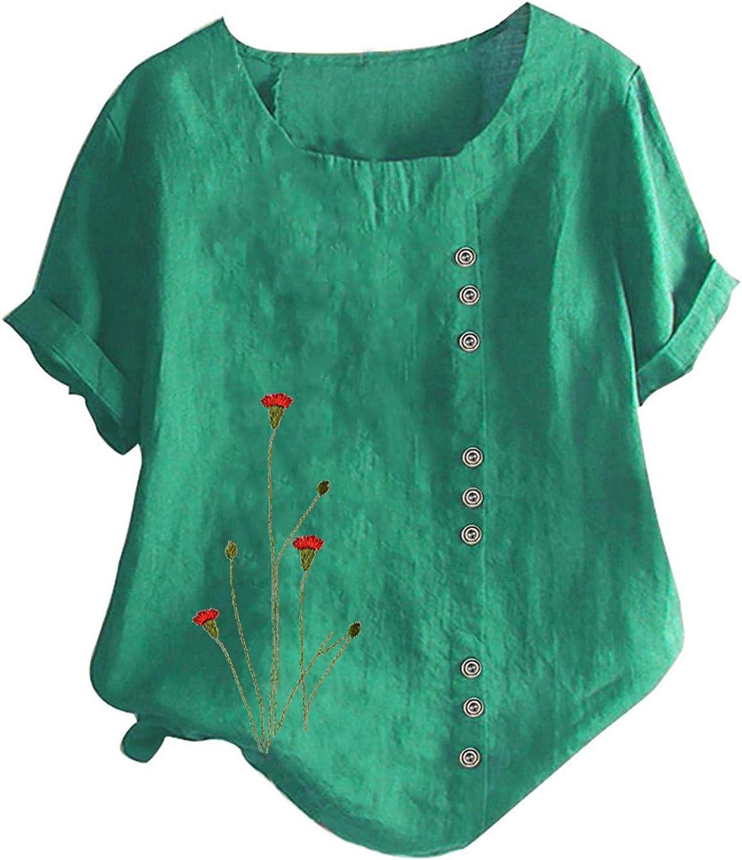 Women's Top,Summer Tops Woman Casual Print T-Shirt Short Sleeve Round Neck Cotton Linen Blouse