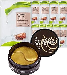 Mizon Snail Eye Patches and Snail Face Mask Set: Snail Repair Intensive Gold Eye Gel Patch (60 pcs) & Joyful Time Essence ...