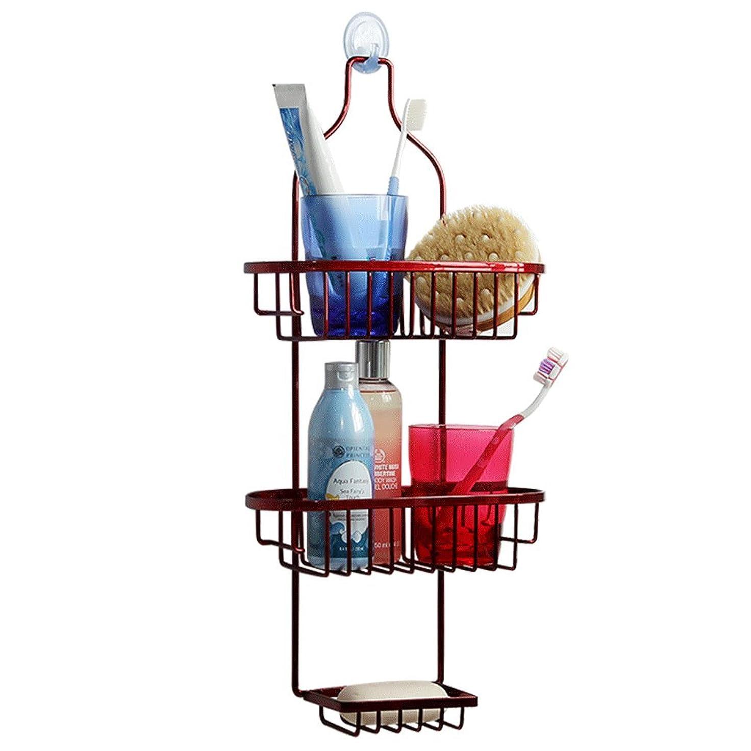 最適八百屋さん膨らませる錬鉄製の浴室棚サクションウォールキッチン棚ネイルフリーサクションカップ収納ラック大収納ラックフック