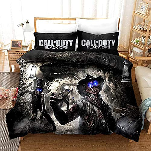 Proxiceen Call of Duty - Juego de funda de edredón y funda de almohada para todo el año, para cama individual o doble, con cremallera, 100% suave y cómodo (A4,200 x 200 cm + 50 x 75 cm)