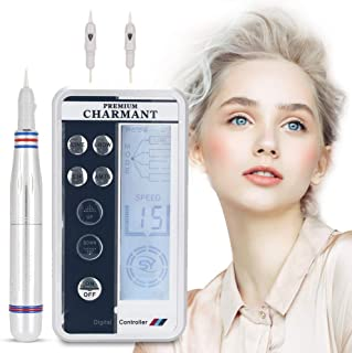 Electric Digital Permanent Eyebrow Lip Eyeliner Tattoo Pen Makeup Tattoo Machine with 2 Types Needle and LCD Display, Teaching CD (Silver)