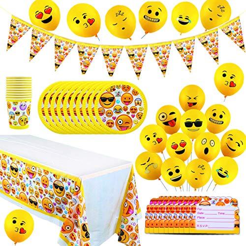 YuChiSX Emoji Party Set für Kindergeburtstag Partydekoration Emoji Geburtstagsfeier Zubehör - Pappteller, Banner, Becher/Tassen, Partytüten, Einladungskarte & Tischdecken Smiley, Emoticon Partyset