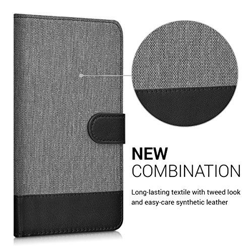 kwmobile Huawei Nova Plus Hülle - Kunstleder Wallet Case für Huawei Nova Plus mit Kartenfächern und Stand - Grau Schwarz - 2