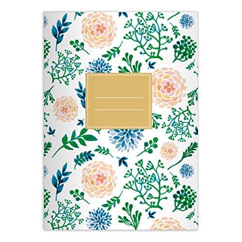 Kartenkaufrausch 2 Blüten reiche Notizheft DIN A5 Schulhefte, Rechenhefte mit Sommer Blumen in rosa blau Lineatur 5 (Kariertes Heft)