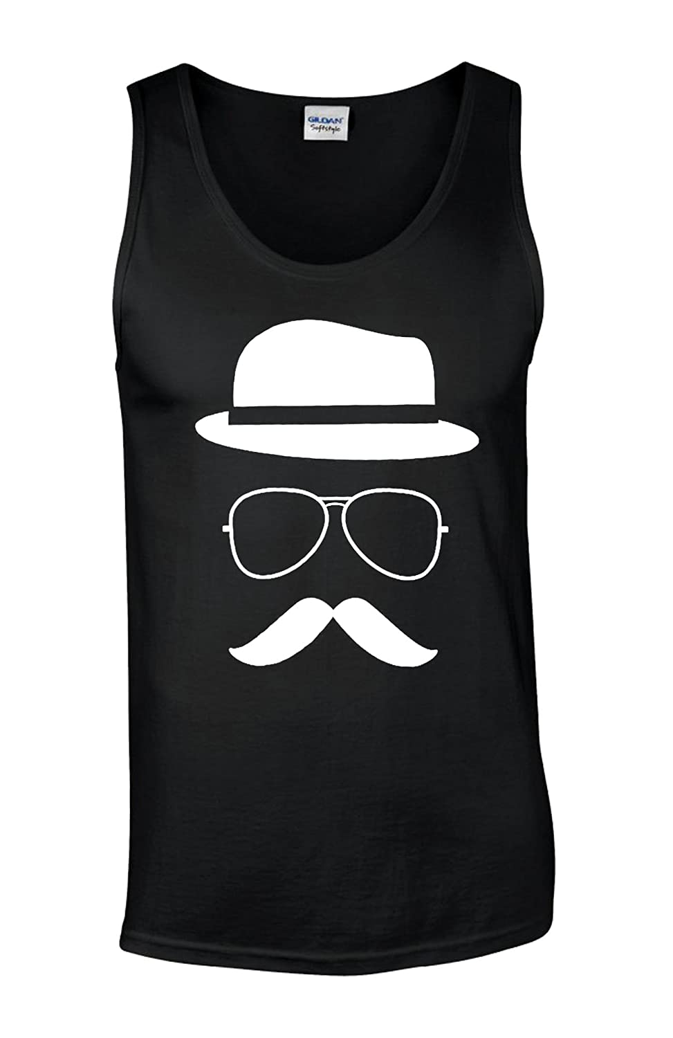 Moustache and Hat Face Geek Novelty White Men Vest Tank Top