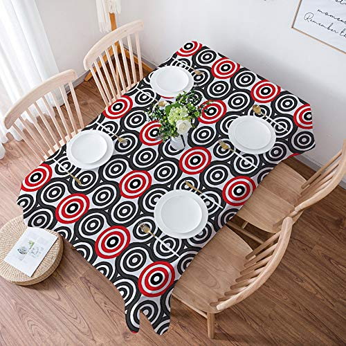 Tovaglia resistente in cotone e lino, per tavoli rettangolari,Cerchio geometrico, intrecciare a spirale labirinto cieco ovale mosaico c, lavabile, per giardino, stanza, decorazione tavolo, 140x200 cm