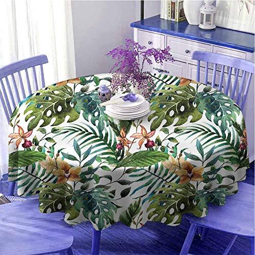 Hoja redonda mantel impresión vintage retro 60s parecer plátano palmera hojas flores hibisco regalos para mujeres diámetro 63 pulgadas claro caramelo burdeos y verde
