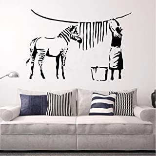 yjnm Banksy Style Wall Decal Zebra Stripe Washing Lady Wall Sticker Street Graffiti Removable Wallpaper Painting Vinyl Art 62 42Cm