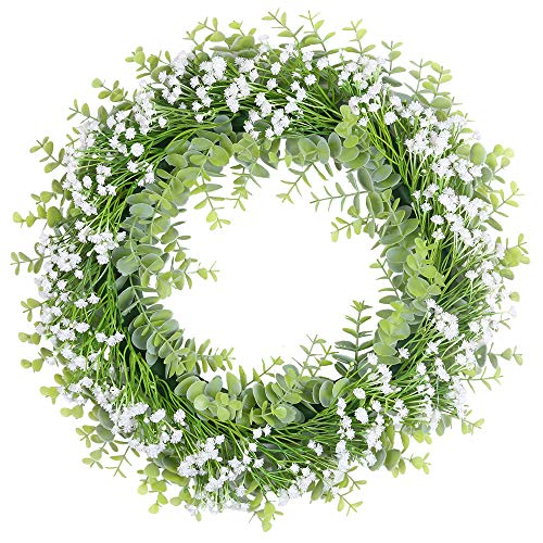 SHACOS Gypsophila Kranz Weiss Künstliche Kranz Deko 43cm Türkranz Blumen Frühling Naturkranz Klein Kranz für Wand, Draussen, Hochzeit, Dekor usw.