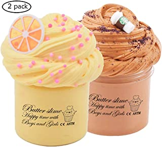 2 Pack Premium Butter Slime Kit, with Yellow Color Lemon Slime and Coffee Slime, Super Soft ,Stretchy and Non Sticky DIY Sludge Toy Coud Slime for Girls and Boys