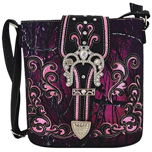 Camouflage-Strass-Western-Handtaschen, versteckte Tragetasche, Country-Frauen-Schultertasche, (#2 Schnalle Violett), Einheitsgröße
