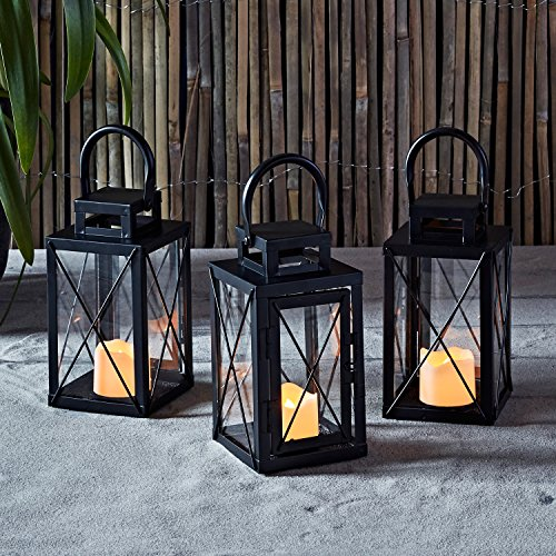 Lights4fun, Inc. Set of 3 Matte Black Metal Battery Operated LED Flameless Candle Lanterns